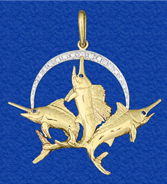 Azaggi Gold Plated Silver Necklace Leaping Marlin Fish Symbol Inward Strength Deep Sea Fishing Fishermans Catch Pendant Necklace.This Gold Plated Necklace is the Perfect Holiday Gift Jewelry Gift