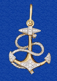 1 89d t5 2diamondfouledanchorpendantg solid 14k gold boating jewelry the anchor pendant how more classic of a necklace is that with 044 ct genuine diamonds tw perfect for men and aloadofball Choice Image