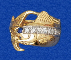 Diamonds Based Upon Ring Size Solid 14k Gold Marlin Jewelry Genuine Shire Eye Finest Fishing Anywhere
