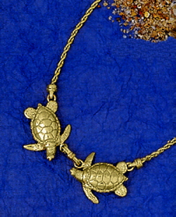 Nautical necklaces swivels bar link snap shackle diamond solid gold one pair of kissing turtles pendant on a 14k gold 25mm rope chain necklace included a charmer sea turtle jewelry in 14k gold mozeypictures Images