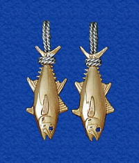 Nautical earrings fish sea life fishing boating sailing solid gold